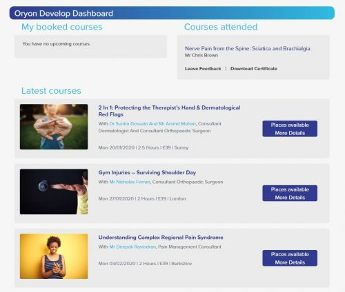 Oryon Develop CPD Courses